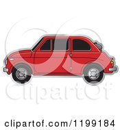 Clipart Of A Vintage Red Fiat Car With Tinted Windows Royalty Free Vector Illustration