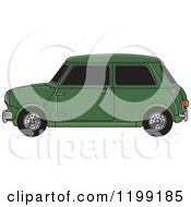 Clipart Of A Vintage Green Morris Mini Car Royalty Free Vector Illustration