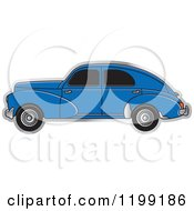 Clipart Of A Vintage Blue Peugeot Car With Tinted Windows Royalty Free Vector Illustration