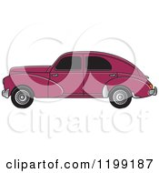 Vintage Maroon Peugeot Car With Tinted Windows
