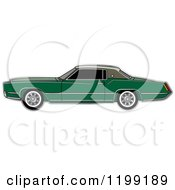 Clipart Of A Vintage Green Cadillac Royalty Free Vector Illustration