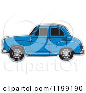 Clipart Of A Blue Austin A30 Car Royalty Free Vector Illustration
