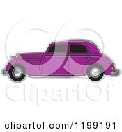 Clipart Of A Vintage Purple Benz Royalty Free Vector Illustration