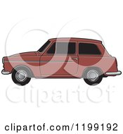 Clipart Of A Brown Austin A40 Car Royalty Free Vector Illustration