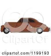 Clipart Of A Vintage Brown Chevrolet Car With Tinted Windows Royalty Free Vector Illustration