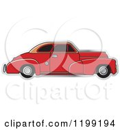 Clipart Of A Vintage Red Chevrolet Car With Tinted Windows Royalty Free Vector Illustration