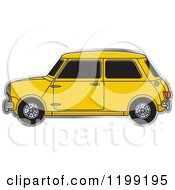 Clipart Of A Vintage Yellow Morris Mini Car Royalty Free Vector Illustration