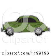 Clipart Of A Vingage Green Morris Minor Car With Tinted Windows Royalty Free Vector Illustration