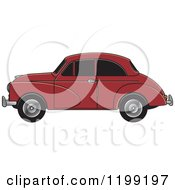Clipart Of A Vingage Maroon Morris Minor Car With Tinted Windows Royalty Free Vector Illustration by Lal Perera