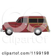 Clipart Of A Vintage Brown Morris Minor Car With Tinted Windows Royalty Free Vector Illustration