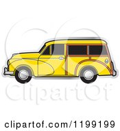 Clipart Of A Vintage Yellow Morris Minor Car With Tinted Windows Royalty Free Vector Illustration