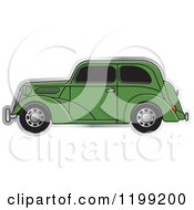 Clipart Of A Green Vintage Ford Car With Tinted Windows Royalty Free Vector Illustration