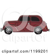 Clipart Of A Brown Vintage Ford Car With Tinted Windows Royalty Free Vector Illustration
