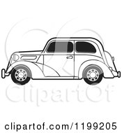 Clipart Of A Black And White Vintage Ford Car With Tinted Windows Royalty Free Vector Illustration