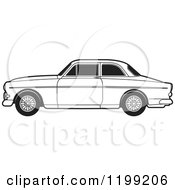 Clipart Of A Black And White Volvo Car Royalty Free Vector Illustration