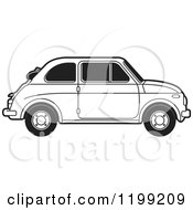 Clipart Of A Vintage Black And White Fiat Car With Tinted Windows Royalty Free Vector Illustration