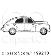 Clipart Of A Vintage Black And White Peugeot Car With Tinted Windows Royalty Free Vector Illustration