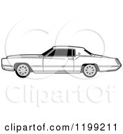 Clipart Of A Vintage Black And White Cadillac Royalty Free Vector Illustration