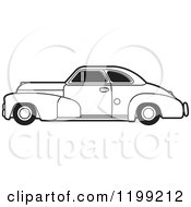 Clipart Of A Vintage Black And White Chevrolet Car With Tinted Windows Royalty Free Vector Illustration