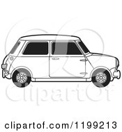 Clipart Of A Vintage Black And White Morris Mini Car Royalty Free Vector Illustration