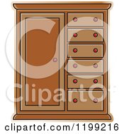 Clipart Of A Brown Almira Cabinet Royalty Free Vector Illustration