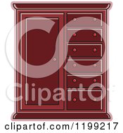 Clipart Of A Maroon Almira Cabinet Royalty Free Vector Illustration
