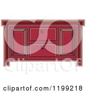 Clipart Of A Maroon Sideboard Cabinet Royalty Free Vector Illustration