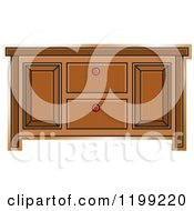 Clipart Of A Brown Sideboard Cabinet Royalty Free Vector Illustration