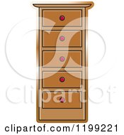 Clipart Of A Brown Tall Dresser Royalty Free Vector Illustration