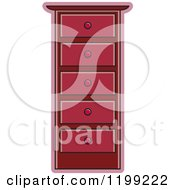 Clipart Of A Maroon Tall Dresser Royalty Free Vector Illustration