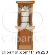 Clipart Of A Brown Corner Showcase Cabinet Royalty Free Vector Illustration