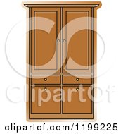 Clipart Of A Brown Armoire Wardrobe Royalty Free Vector Illustration