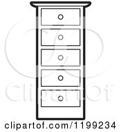 Clipart Of A Black And White Tall Dresser Royalty Free Vector Illustration