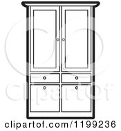 Clipart Of A Black And White Armoire Wardrobe Royalty Free Vector Illustration
