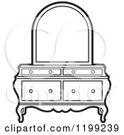 Clipart Of A Black And White Dresser And Mirror Royalty Free Vector Illustration