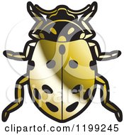 Clipart Of A Golden Convergent Lady Beetle Royalty Free Vector Illustration by Lal Perera