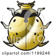 Clipart Of A Golden Nine Spotted Lady Beetle Royalty Free Vector Illustration by Lal Perera