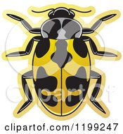 Clipart Of A Yellow Parenthesis Lady Beetle Royalty Free Vector Illustration by Lal Perera
