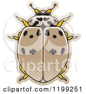 Clipart Of A Tan Ashy Gray Lady Beetle Royalty Free Vector Illustration by Lal Perera