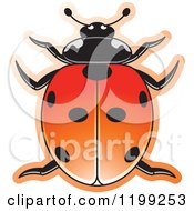 Clipart Of A Red Seven Spotted Lady Beetle Royalty Free Vector Illustration by Lal Perera