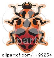 Clipart Of A Red Spotted Lady Beetle Royalty Free Vector Illustration by Lal Perera