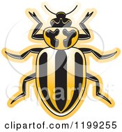 Clipart Of A Yellow Striped Lady Beetle Royalty Free Vector Illustration by Lal Perera