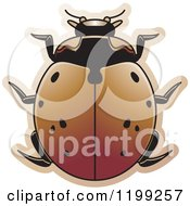 Clipart Of A Brown Nine Spotted Lady Beetle Royalty Free Vector Illustration by Lal Perera