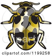 Clipart Of A Golden Parenthesis Lady Beetle Royalty Free Vector Illustration by Lal Perera