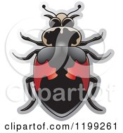 Clipart Of A Red And Black Hippodamus Lady Beetle Royalty Free Vector Illustration by Lal Perera