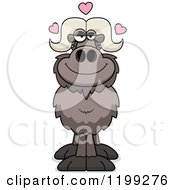 Cartoon Of A Loving Ox With Hearts Royalty Free Vector Clipart