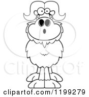 Cartoon Of A Black And White Surprised Ox Royalty Free Vector Clipart