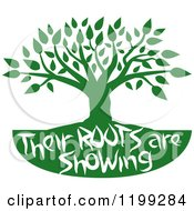 Clipart Of A Green Family Tree With Their Roots Are Showing Text Royalty Free Vector Illustration by Johnny Sajem