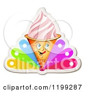 Clipart Of A Strawberry Ice Cream Cone With Frozen Yogurt And Colorful Petals On White Royalty Free Vector Illustration by merlinul