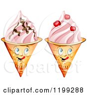 Cartoon Of Waffle Ice Cream Cone Mascots With Chocolate And Cherries Royalty Free Vector Clipart by merlinul